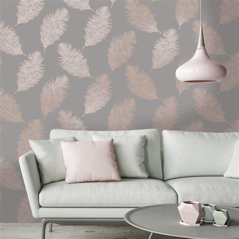 grey wallpaper decor holden decor fawning feather grey rose gold metallic