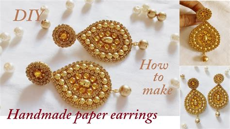 How To Make Paper Earrings - diy how to make designer earrings how to make paper