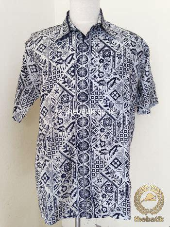 Kemeja Batik Pekalongan Fmc 345 jual hem batik pendek motif tambal boketan hitam putih