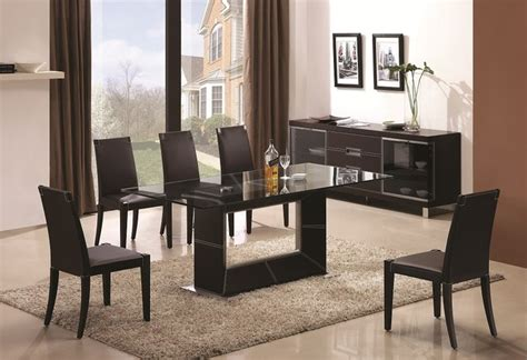 Modern Contemporary Dining Room Sets by Sophisticated Rectangular Wooden And Clear Glass Top