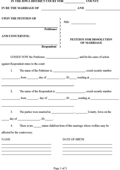 what petition for divorce dissolution iowa petition for dissolution of marriage form