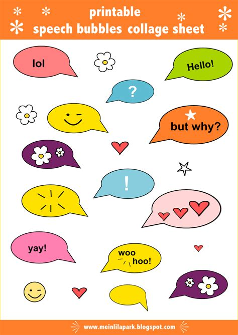 Free Digital Speech Bubble Collage Sheet Speech Bubble Speech Printable
