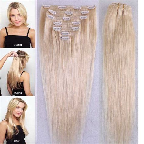 remy human hair bulk for braiding bleach blonde human hair extensions 7 pcs lot blonde 613 remy clip in human hair extensions