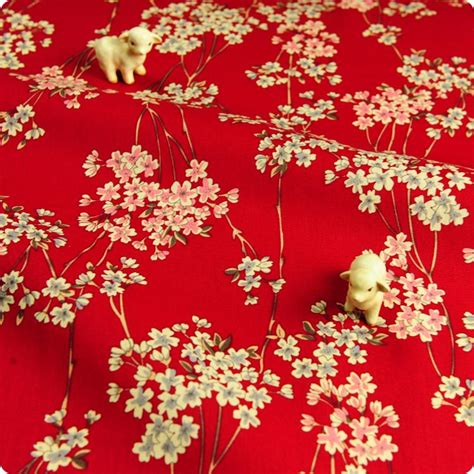uk fabric store japanses kimono red floral cotton quilt