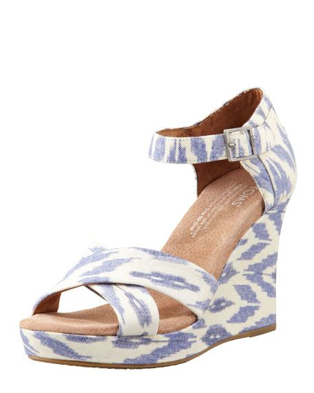 toms strappy wedge sandal toms printed hemp strappy wedge sandal ikat