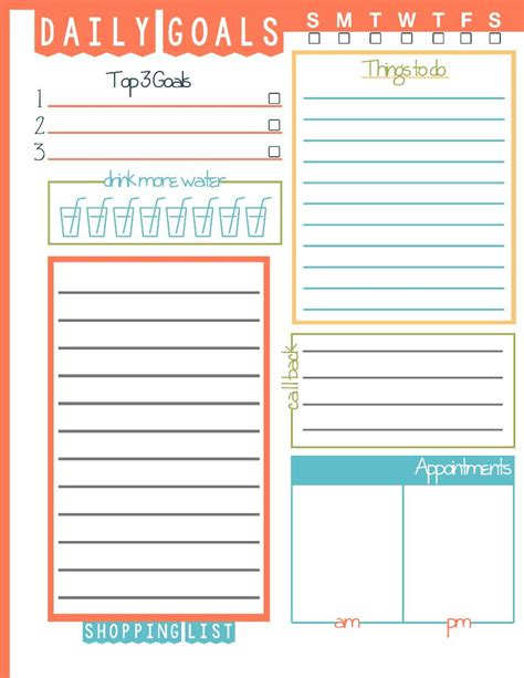 free printable daily goal sheets 6 best images of daily goals printable free printable