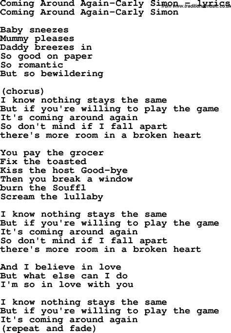 carly simon lyrics coming around again   Download Coming