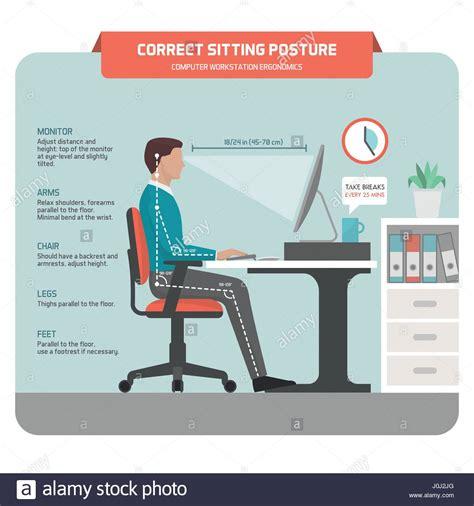 Correct Desk Ergonomics by Correct Sitting At Desk Posture Ergonomics Office Worker