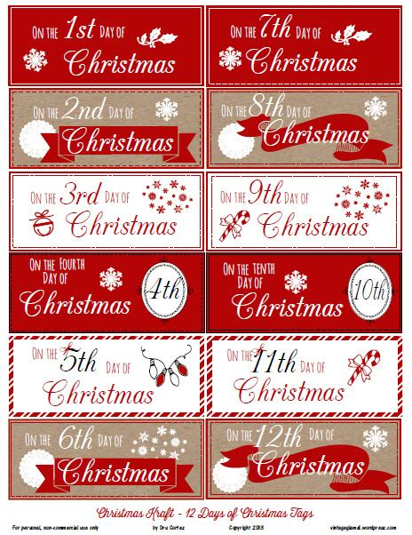 free printable download 12 days of christmas gift tags