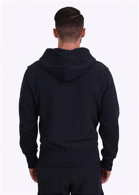 Hoodie Zipper Woven War Logo chion weave zip logo hoodie navy blue