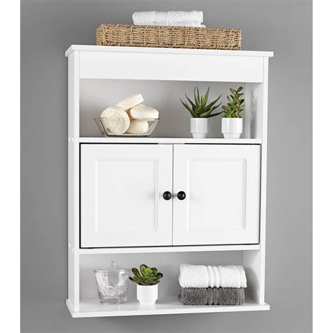 cabinet wall bathroom storage white shelf organizer  toilet mount towel bath  ebay