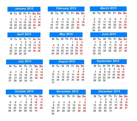printable calendar 2015 with public holidays print version