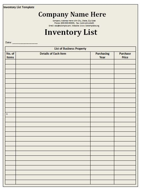 inventory list template excel inventory list template free formats excel word