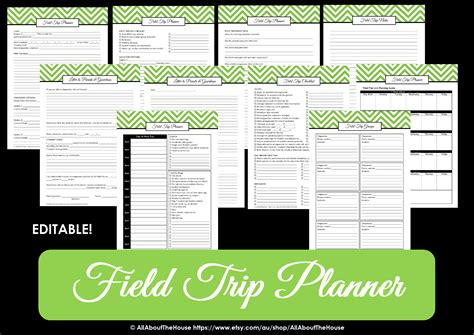 field trip planner template editable chevron printable planner