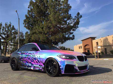 rainbow chrome bmw m235i with rainbow chrome wrap