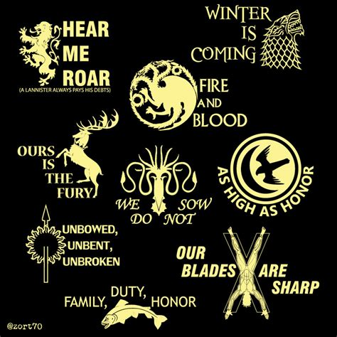 Game Of Thrones House Mottos T Shirt