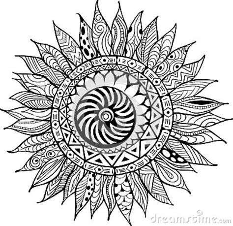 abstract sunflower coloring page hand drawn zentangle sunflowers ornament for coloring book