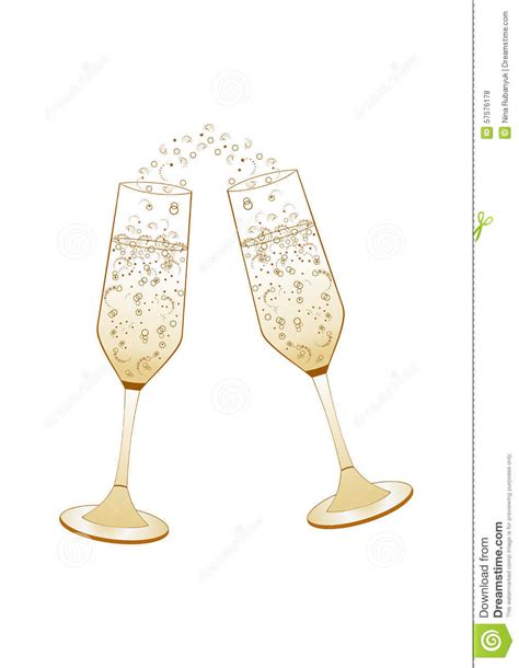 Wedding Glasses Clipart by Wedding Chagne Glasses Illustration Royalty Free