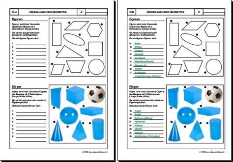 mathematik geometrie arbeitsblatt figuren koerper