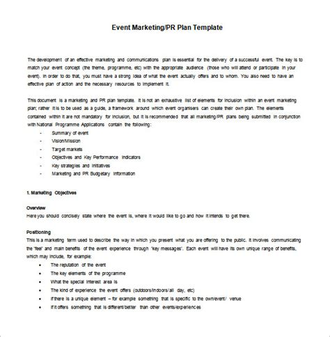 events company business plan template marketing plan template 9 free sle exle
