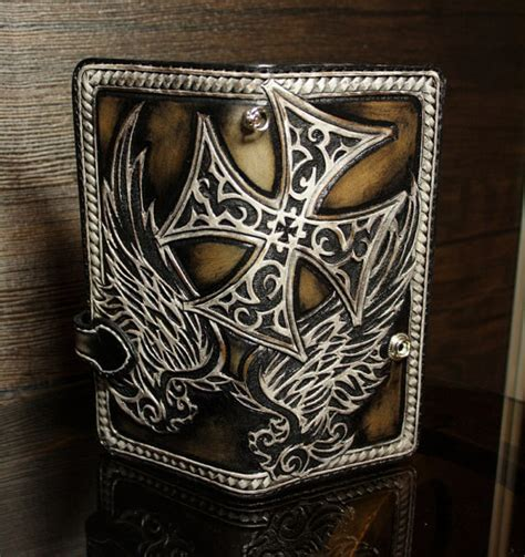 leather biker wallet pattern hand tooled leather biker wallet hand carved wallet mens