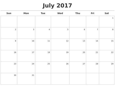 Calendar 2017 July To September July Calendars
