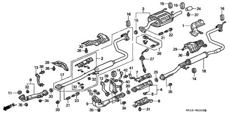 2000 honda civic exhaust diagram 2000 honda civic 2 door ex ka 4at exhaust pipe honda
