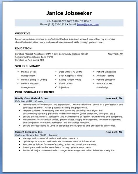 medical assistant resume sle creative resume design