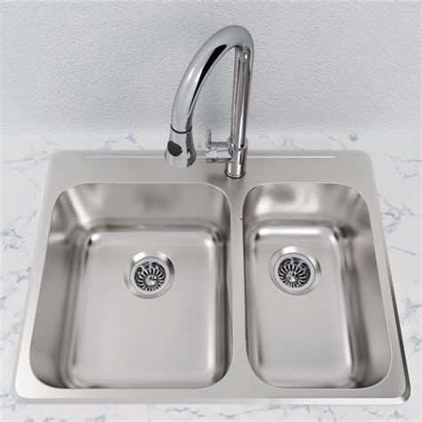 overmount kitchen sinks stainless steel cantrio koncepts stainless steel 1 1 2 bowl overmount kitchen sink with free shipping