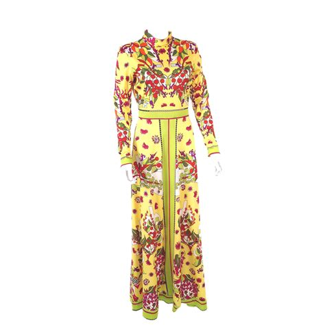 Vintage Flower Maxi Dress vintage 70s aremis designer fruit flowers op maxi
