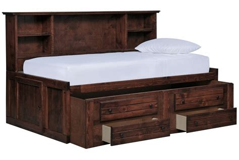 size captain bed frame sedona roomsaver bed w 2 drawer captains trundle