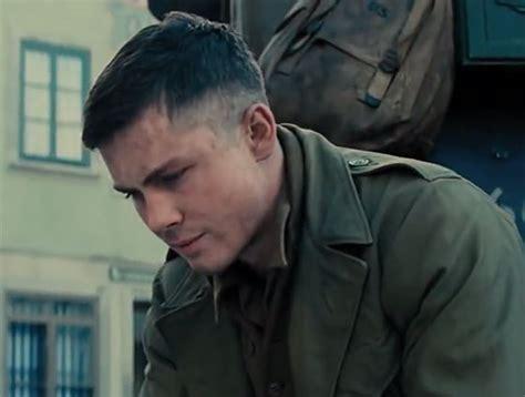 haircut from fury fury movie video footage logan lerman shia labeouf new