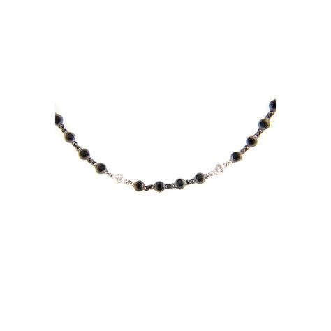 Wst 11021 Chain Necklace Black dilamani jewelry black spinel white sapphire 40 chain