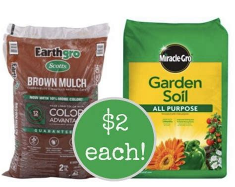 earthgro colored mulch or miraclegro garden soil only 2