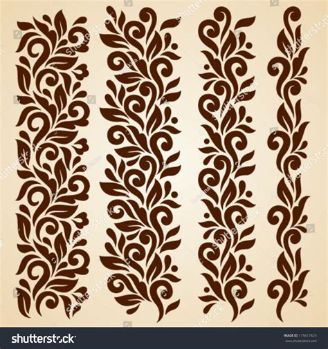 brown floral pattern border vector set floral elements seamless pattern stock vector