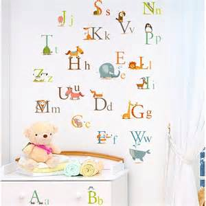 animals alphabet baby nursery peel amp stick wall art sticker decals for educational stickers