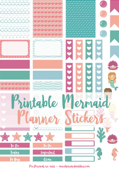 free printable stickers for erin condren life planner free printable mermaid planner stickers sized for erin