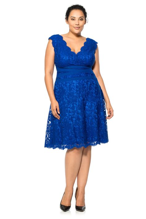 Lace A Line Dress embroidered lace v neck a line dress plus size tadashi