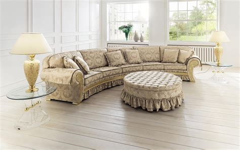 vintage brown sectional curved shaped sofa design ideas