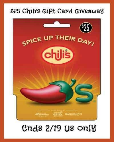 Chili Gift Card - enjoy the dinner for two at chilis or macaroni grill win 25 gift card
