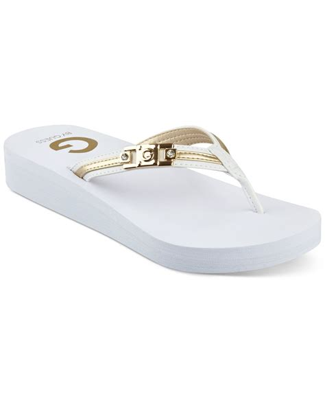Sandals Flip Flops Guess g by guess ali flip flops in white lyst
