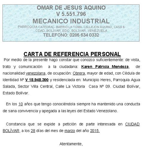 carta de referencia laboral para banco referencia personal modelo word imagui