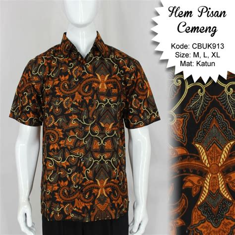 Kemeja Batik Pendek Murah kemeja batik pendek motif pisang cemeng kemeja lengan