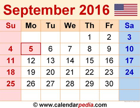 4 Calendars On One Page September 2016 Calendar Printable One Page 2017
