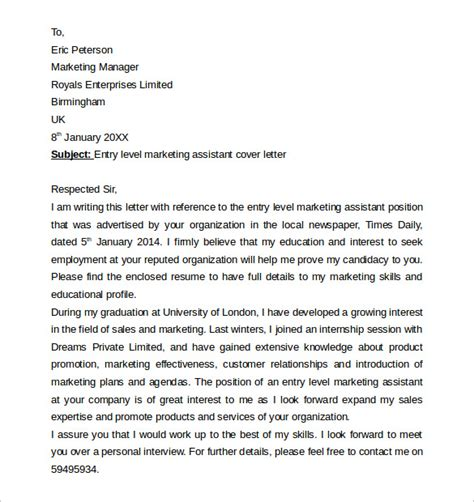 sle cover letter exle for job 13 download free