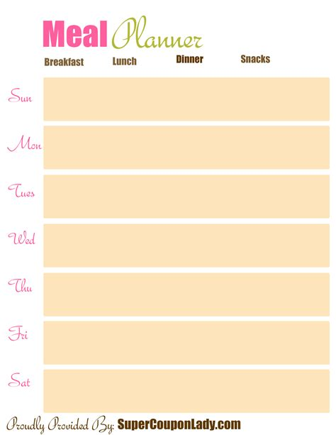 printable lunch meal planner 4 best images of printable dinner meal plan chart weekly