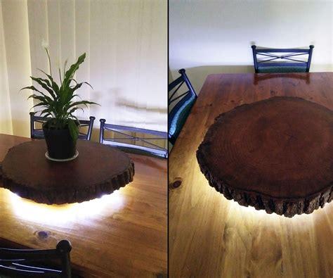 rustic  edge log slice lazy susan  led lighting