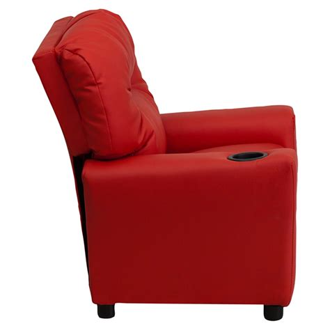 upholstered recliner chair upholstered kids recliner chair cup holder red dcg stores