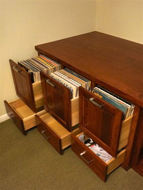 custom audio vinyl records cabinet traditional