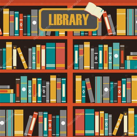 Bookcase Clipart Vector Of Library Book Shelf Background Stock Vector